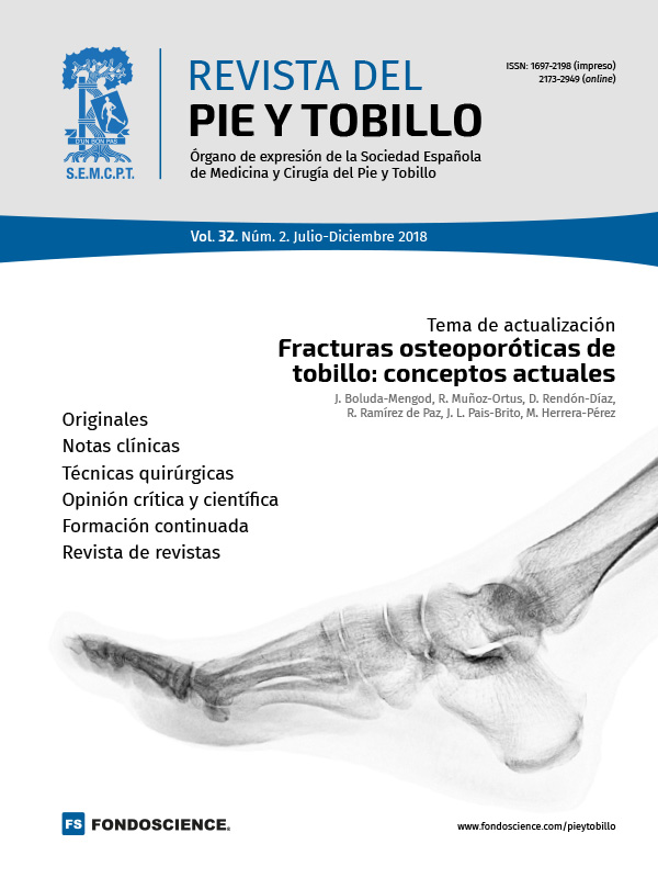 Revista del Pie y Tobillo. Portada Vol. 32. Núm. 2.